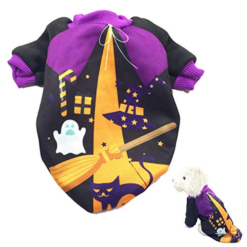 PACCOMFET Halloween Cat Apparel Witch Costume Dog Party Shirt for Puppy Pet S