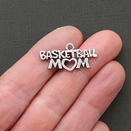 Charm - 5 Basketball Mom Charms Antique Silver Tone Go Team - SC1789 ()
