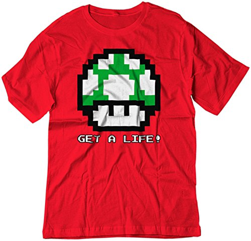 Price comparison product image BSW Youth Get A Life 1UP Mushroom Vintage 8bit Mario Bros Shirt LRG Red