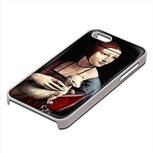 Da Vinci - Portrait Of A Lady With Ermine, Custom Design Blanco PC Ultradelgado Caso Duro Carcasa Funda Protección Tapa Hard Case Cover con Diseño Colorido para Apple iPhone 5 5S.