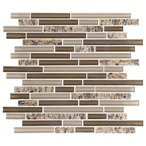 (Daltile Granite and Glass Radiance Backsplash Tile Santa Cecilia Blend Random GR65)