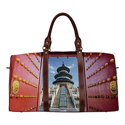 Ancient China Decorations Waterproof Travel Bag,Doorway to Asian Religious Monument Temple of Heaven in Beijing Decorative for Travel,18.62'L x 8.5'W x 9.65'H