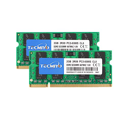 - TECMIYO 4GB Kit (2x2GB) DDR2 667MHz PC2-5300 PC2-5300S Non ECC Unbuffered 1.8V CL5 2RX8 Dual Rank 200 Pin SODIMM Laptop Notebook Computer Memory Ram Module