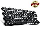 Typewriter Keyboard Retro Keyboard 87 Keys Keyboard with White LED Backlit Keyboard Typewriter Retro Style Keyboard Metal Base and Round Keycaps Anti Ghosting for PC and Mac