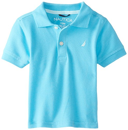 Nautica Baby Boys' Short Sleeve Solid Pique Polo, Turquoise, 12 Months