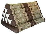 Thai triangle cushion XXL, with 1 folding seat, brown, sofa, relaxation, beach, pool, meditation, yoga, made in Thailand. (82416)