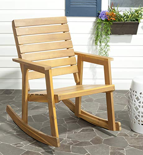 Safavieh Outdoor Collection Alexei Natural Brown Rocking - Natural Rocking Wood Chair