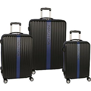 Nautica Surfer's Paradise 3 Piece Spinner Luggage Set (20.5 /25 /28 ), Black/Cobalt Blue