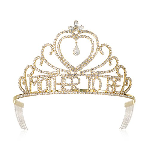DcZeRong Baby Shower Crowns Mom To Be Gold Tiaras for Mother To Be Prom Party Pageant Tiara Crowns