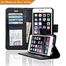 NAVOR® Genuine Leather Flip Wallet Case for iPhone 6 Plus / 6S Plus [5.5 Inch] - Black (IP6PG-BK)