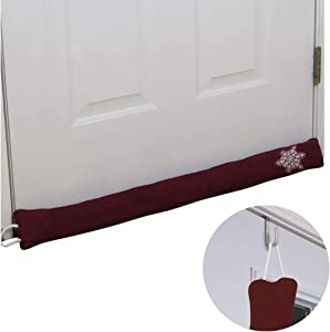 Evelots Door Draft Stopper-36 inch-with Over The Door Hook-Heat Stay in-Burgundy