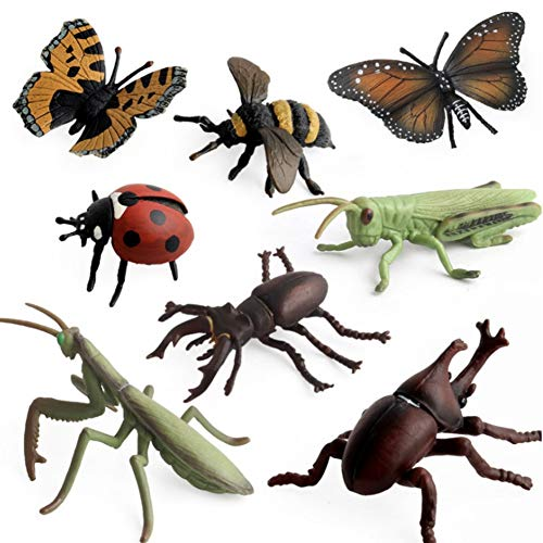CheeseandU 8Pcs Insect Figure Toys Realistic Bugs Figures Toy Butterfly, Bee, Ladybug, Grasshopper, Mantis,Uang,Stag Beetle Action Models Kids Education Cognitive Toy Collection Gift