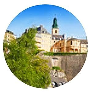 alfombrilla de ratón Opinión del paisaje urbano de Luxemburgo con el río Alzette - ronda - 20cm