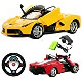 DG-3004 1:14 Ferrari Laferrari Style Radio Control RC Electric Rechargeable Car with Electric Opening Doors & Gravity sensor remote - Ready to Run EP RTR - Red / Yellow UK SELLER - NEXT DAY DELIVERY (YELLOW)