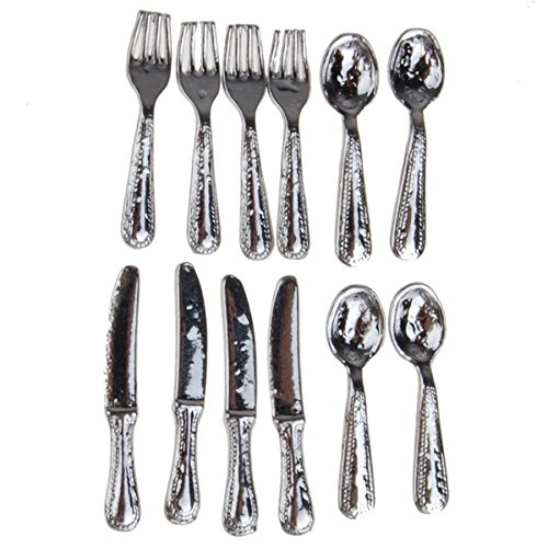 12 Pcs Stainless Steel Tableware Set 1/12 Dollhouse Miniature