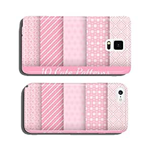 Cute different vector seamless patterns. Pink and white color cell phone cover case Samsung S6