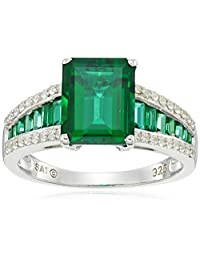 Sterling Silver Created Emerald and Created White Sapphire Octagon Ring