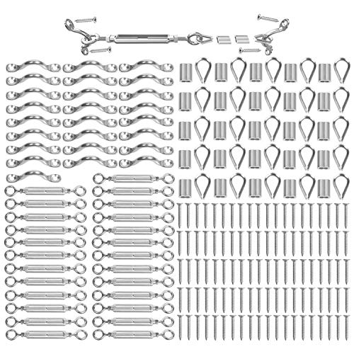 Blika 25 Pack Heavy Duty T316 Stainless Steel Cable Railing Kits for Wood Posts, DIY Balustrade Kit with Jaw Swage Fork Turnbuckle