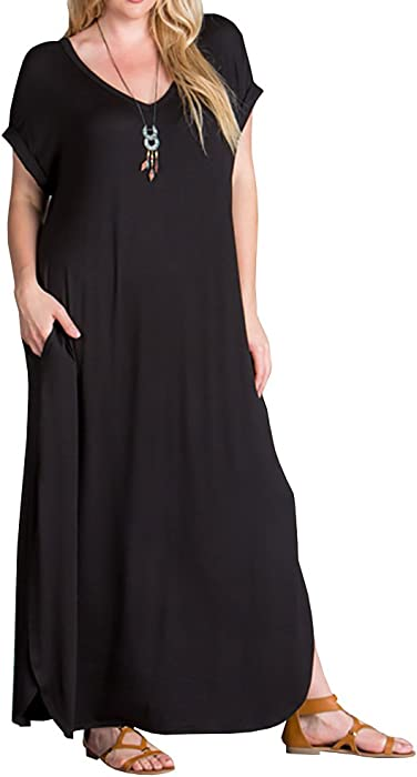 236af2fcf1c Womens Plus Size Maxi Dresses V Neck Casual Summer Short Sleeve Long Dress  Split Plain with