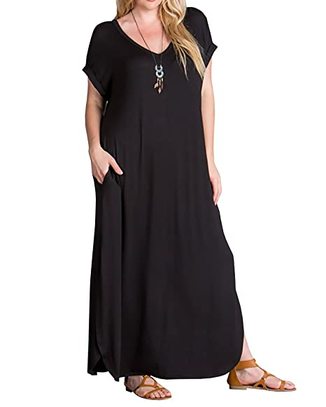 Women\'s Plus Size Maxi Dresses Short Sleeve Casual Summer Split T Shirt  Long Dress with Pockets