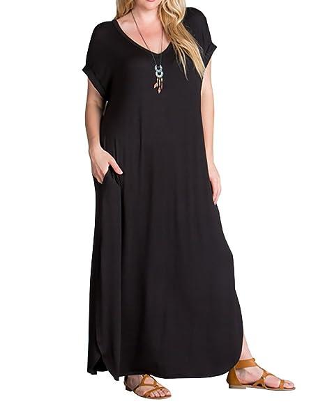 Womens Plus Size Maxi Dresses V Neck Casual Summer Short Sleeve Split T  Shirt Long Dress with Pockets