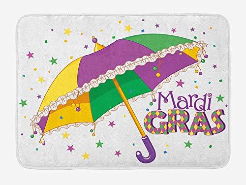 K0k2t0 Doormats Mardi Gras Bath Mat, Parade Preparations Umbrella Stars Confetti Figures Joyful Fun Party, Plush Bathroom Decor Mat Non Slip Backing, 23.6 W X 15.7 W Inches, Purple Yellow Green