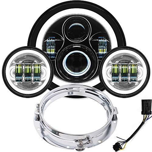 Halo LED Headlight 7 inch DOT Approved 4.5 inch Fog Passing Lights Ring Kit Motorcycle Headlamp for Harley Davidson Heritage Softail Deluxe Fatboy Touring Road King Ultra Classic Electra Street Glide - Heritage Springer Diecast Motorcycle