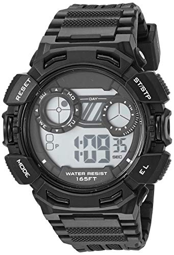 Amazon Essentials Men's Digital Chronograph Black Resin Strap Watch