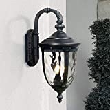 Bellagio Outdoor Wall Light Fixture Textured Black 20 1/2'' Hammered Glass Exterior House Patio Porch - John Timberland