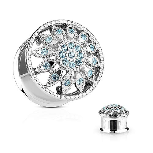 Covet Jewelry Crystal Paved Flower Front 316L Surgical Steel Double Flared Tunnel Plugs (2GA (6mm))