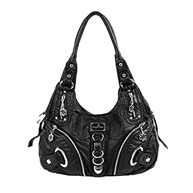 Angelkiss Two Top Zippers Closure Multiple Pockets Handbags Washed Leather Purses Shoulder Handbags AK11282 (Black)