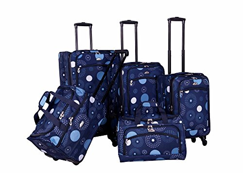 American Flyer Fireworks 5-Piece Spinner Luggage Set (Blue)