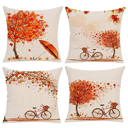 - Bicycle Decorative Pillow Covers Autumn Fall Style Throw Pillow Cover Maple Leaf Bicyle Tree Cushion Case Shell Outdoor Fall Set Decorative for Car Sofa Bed Couch 18x18 Inch (4 Pack)