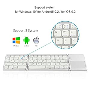 Foldable keyboard with Touch Pad, IKOS Tri- Folding Portable Keyboard for iPhone iPad Samsung Smartphone Tablet, Wireless BT Keyboard, Designed for iOS Android Windows System Device