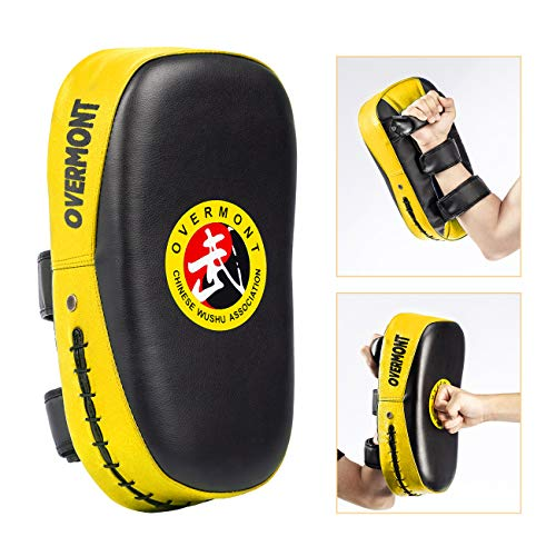 Overmont Taekwondo Kick Pad with Curved Punching Surface Karate Kicking Shield PU Leather for Boxing Martial Art Kickboxing Training (Kick Pads)