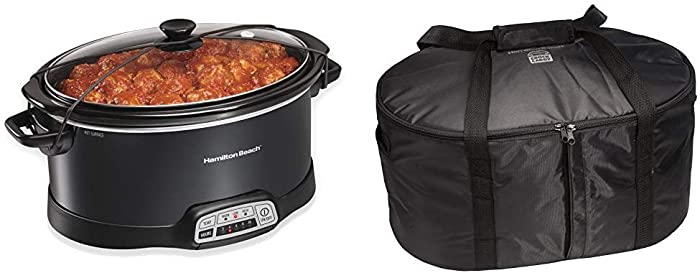 Hamilton Beach Portable 7-Quart Programmable Slow Cooker With Lid Latch Strap, Black (33474) & Hamilton Beach Travel Case & Carrier Insulated Bag for 4, 5, 6, 7 & 8 Quart Slow Cookers (33002),Black