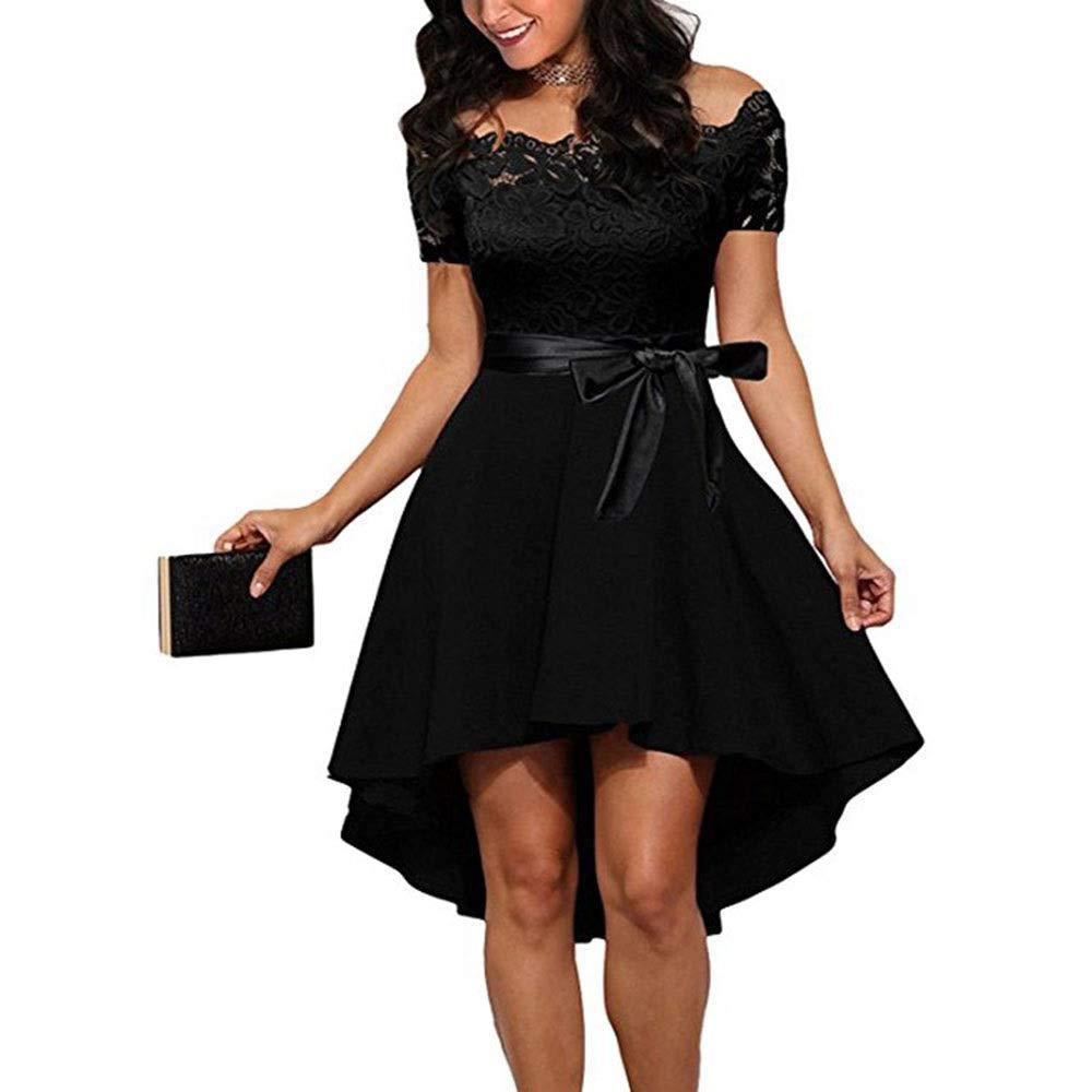 Black ProBikeUS Women's Off Shoulder Short Sleeve Lace Swing Dress with Belt (color   Pink, Size   XL)