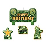 "Amscan Party Time Tanks and Soldiers Molded Mini Character Birthday Candle Set, Pack of 4, Camouflage, 2.25"" x 3.25"" Wax"