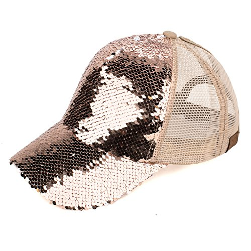 Hatsandscarf C.C Exclusives Magic Sequin Pony Trucker Cap (BT-723) (Rose/Gold)]()