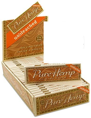 25 Pure Hemp Unbleached Brown 1 1/4 Natural Gum Cigarette Rolling Papers Packs (50 Leaves/pack) + Beamer Smoke Sticker. For Legal Smoking Herbs, Rolling Tobacco, Cones, Herbal Mixes, Rollers, Injector