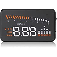 X5 HUD 3 Universal Multi-function Vehicle-mounted Heads up Display for Cars Windshield Compatible with OBD2 II EOBD System Model Cars Interface Plug Play KM/h MPH Speeding Warning adaptation car