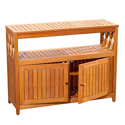 DTY Outdoor Living Longs Peak Eucalyptus Sideboard, Outdoor Living Patio Furniture Collection - Natural Oil from DTY