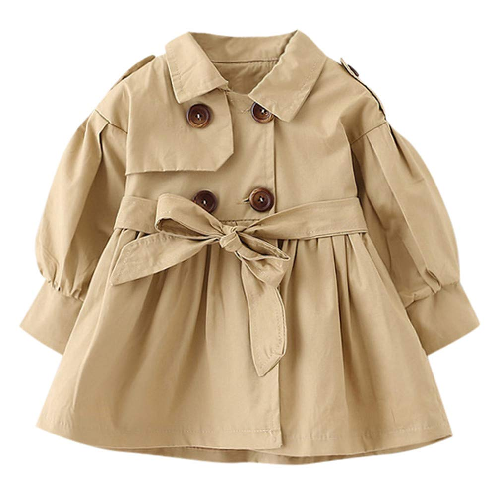 1-5T Toddler Infant Baby Boys Girls Double Breasted Trench Coat, Casual Button-up Jacket Outerwear Dress Belt Outfits Aritone baby clothes