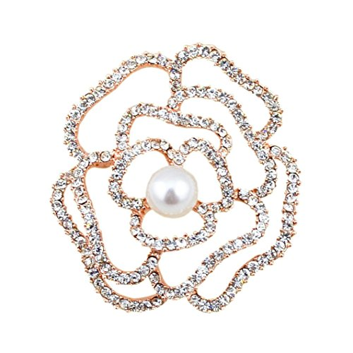 Rhinestones Brooch and Imitation Pearl Brooches for Female Pins Women Hajib Pin Tips for Collar (Gold) from 89LOOK-Brooch