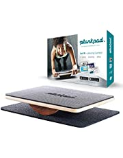 """plankpad - Full-body fitness trainer with training app for iOS and Android - Innovative balance board from """"Shark Tank"""" Tv Show in black / walnut"""