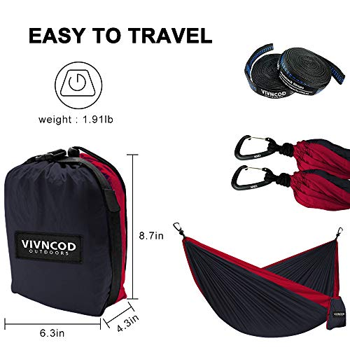 VIVNCOD Single & Double Camping Hammock with Tree Straps, Lightweight Parachute Nylon Hammock, Portable Indoor Outdoor Hammocks for Hiking, Camping, Backpacking, Travel, Yard, Beach