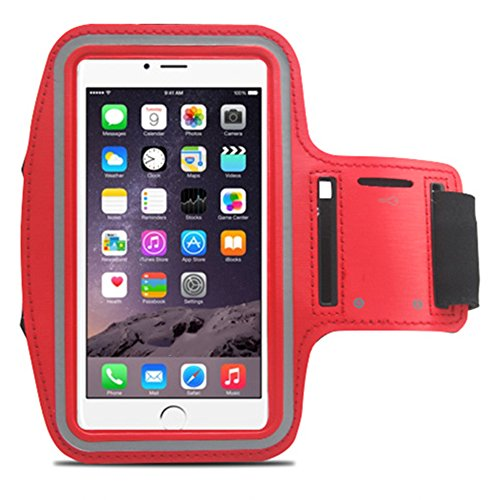 Lt044 Iphone6 Plus Armband , Xboun[sport]style Sweatproof [Vogue] Apple Iphone6 Plus Armband 5.5 Inch Easy Fitting Sport Running Armband with Premium Flexible Case Combo for Iphone 6 Plus Cover (Red)