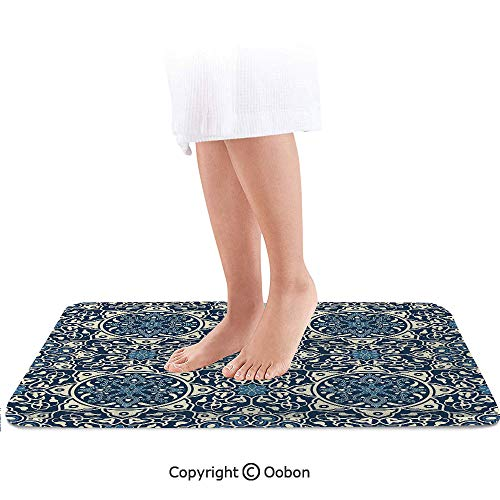 Arabian Bath Mat,Floral Antique Tile Pattern Decorative Delicate Ornamental Design Artistic Print,Plush Bathroom Decor Mat with Non Slip Backing,24 X 17 Inches,ndigo Cream Dallas Cowboys Team Carpet Tiles