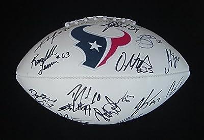 Houston Texans 2015 Team Signed Autographed White Logo Football Watt Hopkins Foster