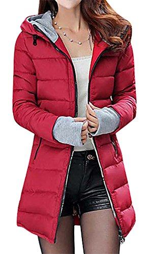 BLady Women's Long Quilted Black Zip Hooded Cotton Filled Parka With Gloves, WineRed S,Manufacturer(L)